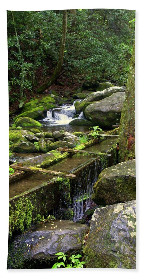 Great Smokey Mountains National Park Beach Towel featuring the photograph Water Sluice by Marty Koch