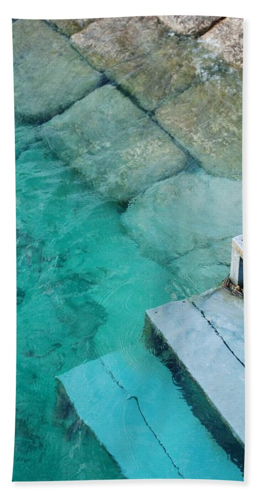 Water Blocks Bricks Beach Towel featuring the photograph Water Steps by Rob Hans