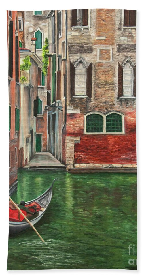 Venice Paintings Beach Towel featuring the painting Water Taxi On Venice Side Canal by Charlotte Blanchard