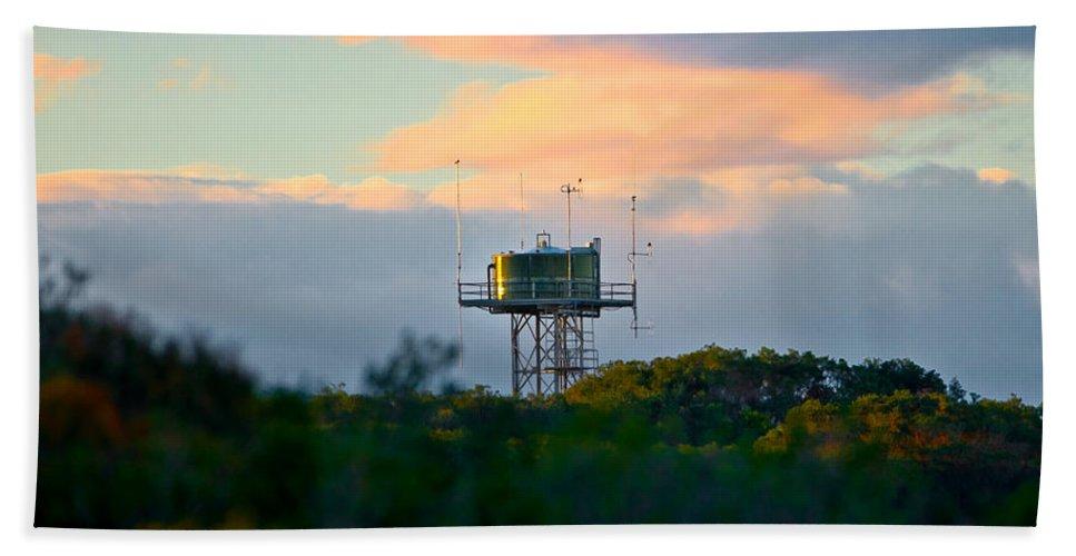 Water Tower Beach Towel featuring the photograph Water Tower In Orange Sunset by Miroslava Jurcik