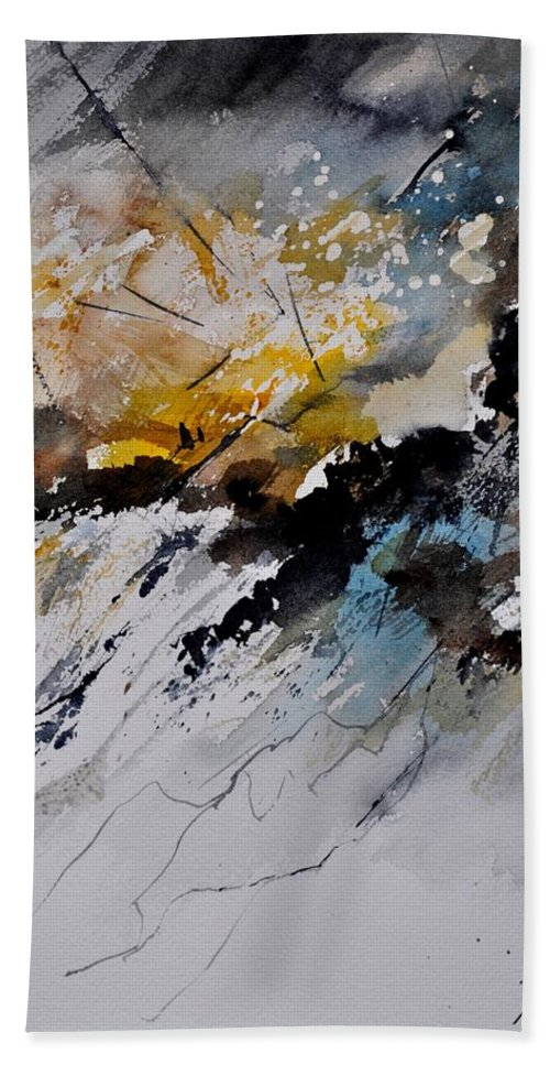 Abstract Beach Towel featuring the painting Watercolor 011130 by Pol Ledent