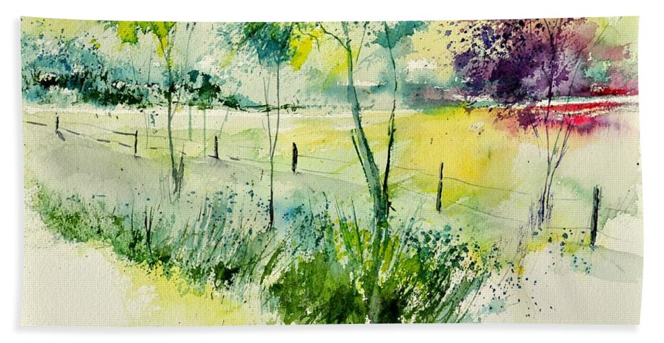 Landscape Beach Towel featuring the painting Watercolor 014052 by Pol Ledent