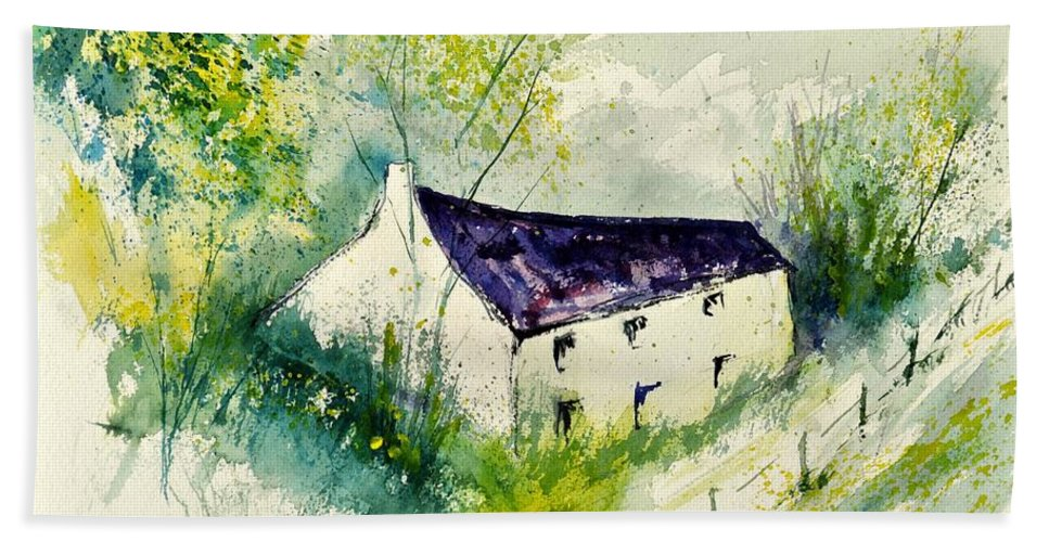Landscape Beach Towel featuring the painting Watercolor 014062 by Pol Ledent