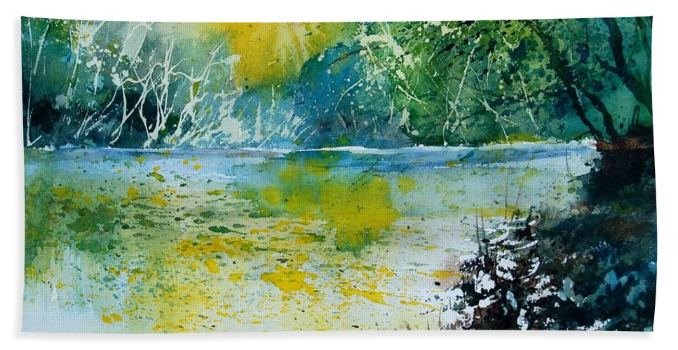 Pond Beach Towel featuring the painting Watercolor 051108 by Pol Ledent