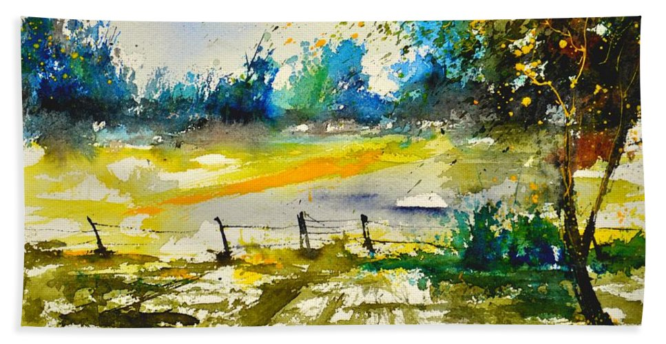 Landscape Beach Towel featuring the painting Watercolor 112040 by Pol Ledent