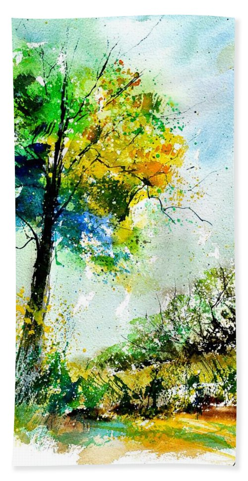 Landscape Beach Towel featuring the painting Watercolor 114062 by Pol Ledent