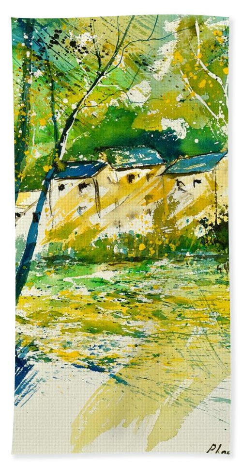Landscape Beach Towel featuring the painting Watercolor 115080 by Pol Ledent