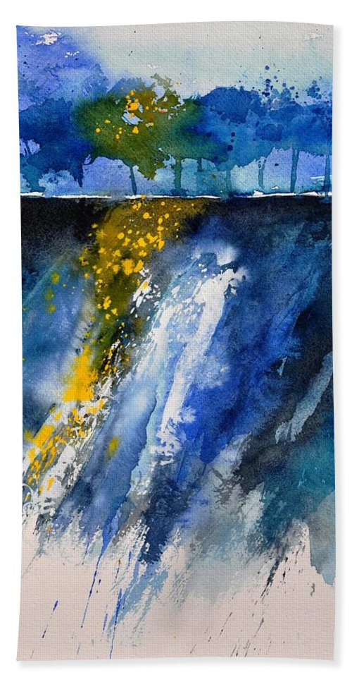 Abstract Beach Towel featuring the painting Watercolor 119001 by Pol Ledent
