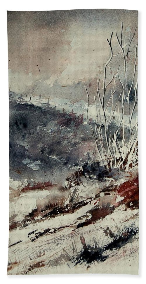 Snow Beach Towel featuring the print Watercolor 446 by Pol Ledent
