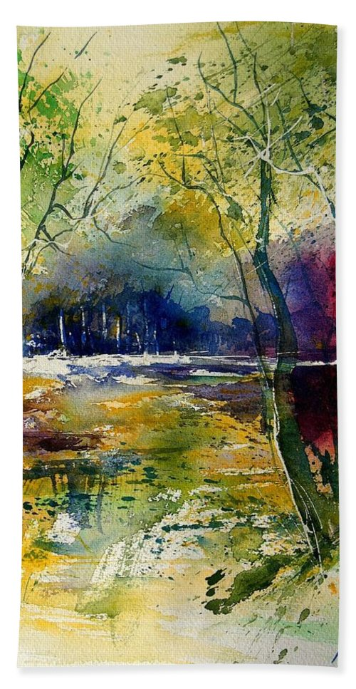 River Beach Sheet featuring the painting Watercolor 908010 by Pol Ledent