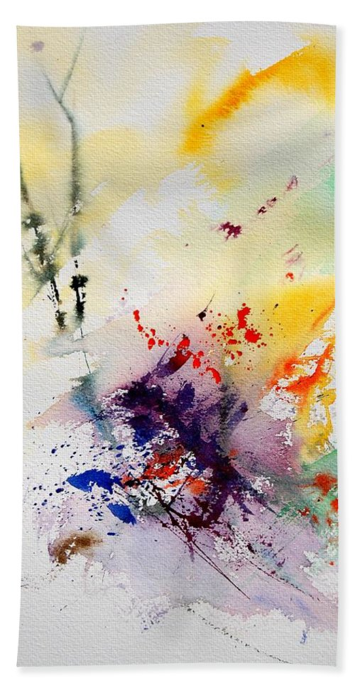 Abstract Beach Towel featuring the painting Watercolor 908090 by Pol Ledent