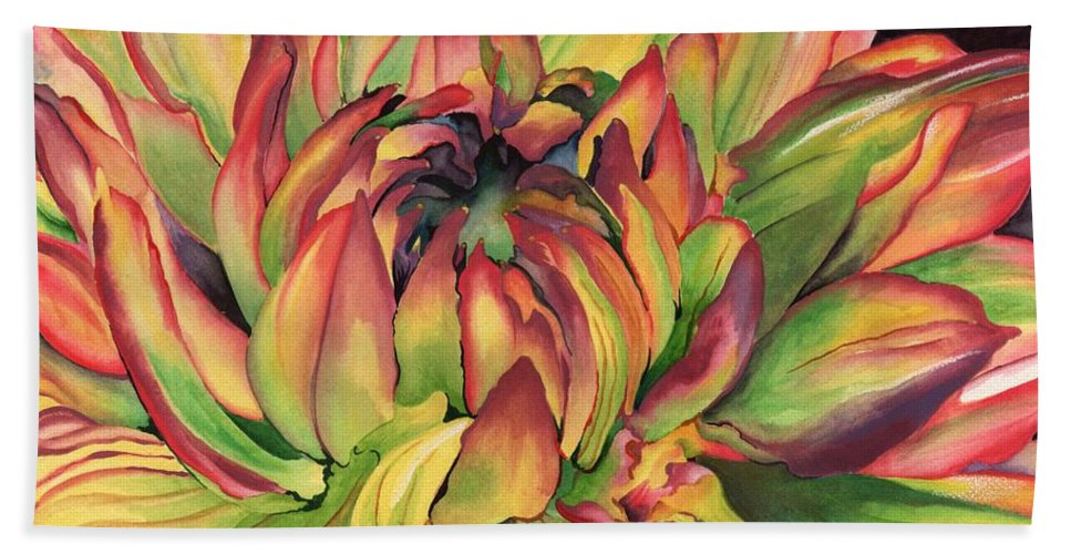 Dahlia Beach Towel featuring the painting Watercolor Dahlia by Angela Armano