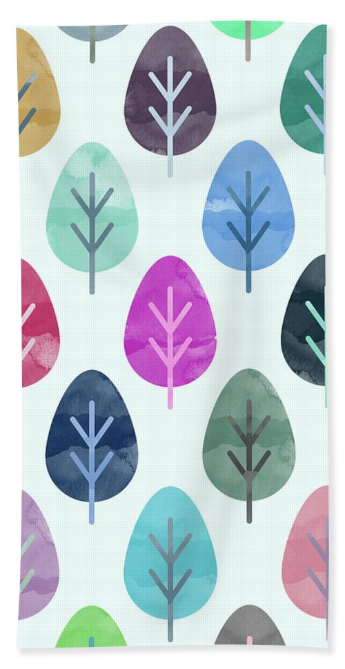 Watercolor Beach Towel featuring the digital art Watercolor Forest Pattern by Amir Faysal
