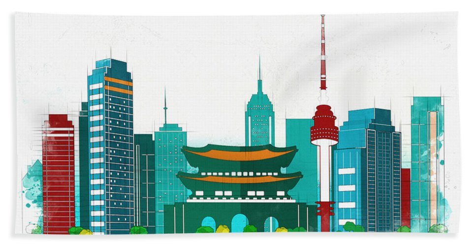 Poster Beach Towel featuring the digital art Watercolor Illustration Of Seoul by Don Kuing