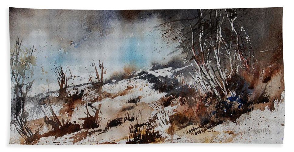 River Beach Sheet featuring the painting Watercolor Jjook by Pol Ledent