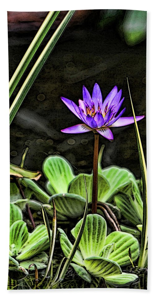 Lily Pond Water Purple Green Garden Beach Towel featuring the photograph Watercolor Lily by Shari Jardina