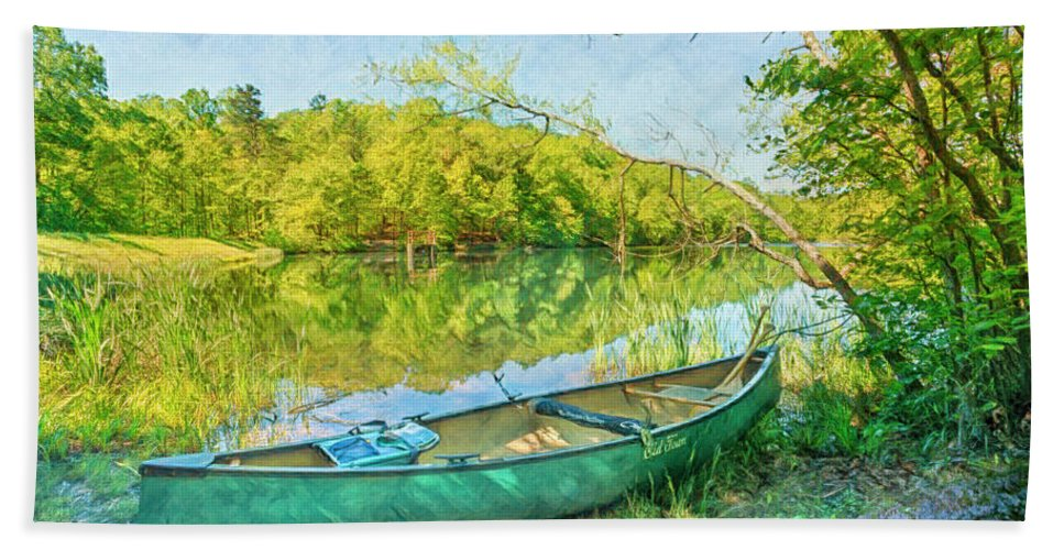 Appalachia Beach Towel featuring the photograph Watercolors At The Lake by Debra and Dave Vanderlaan