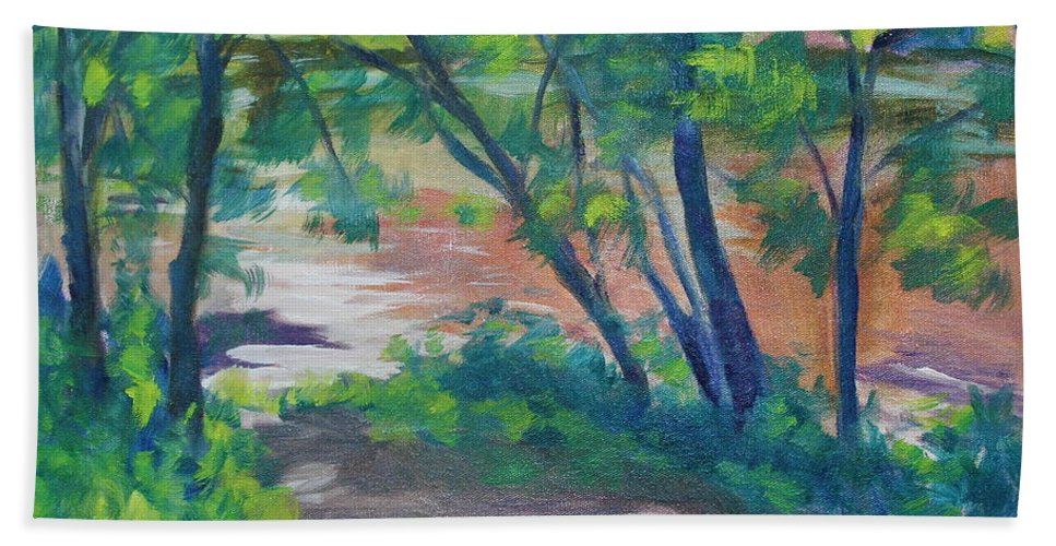 Landscape Beach Towel featuring the painting Watercress Beach On The Current River  by Jan Bennicoff