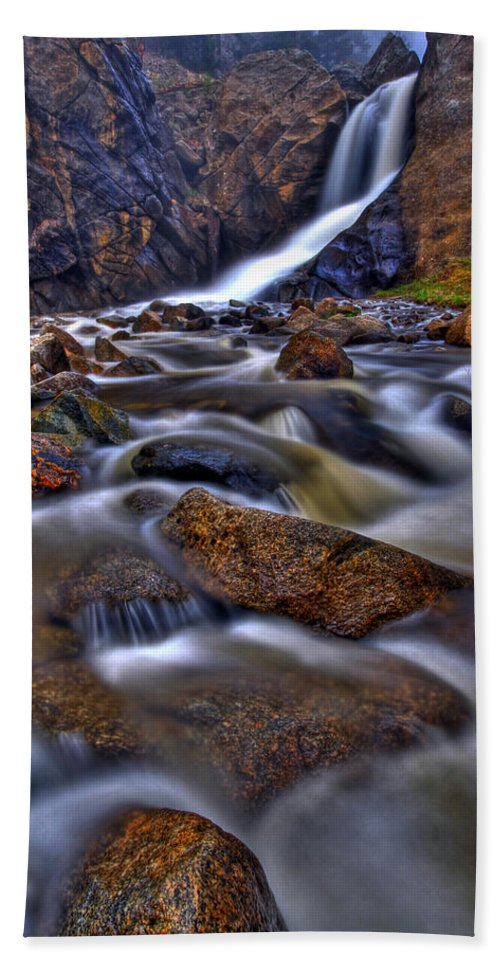 Waterfall Beach Towel featuring the photograph Waterfall Canyon Vertical by Scott Mahon
