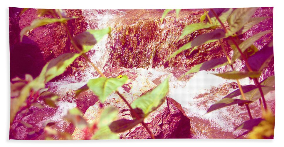 Chicago Beach Towel featuring the photograph Waterfall Garden Pink Falls by Kyle Hanson