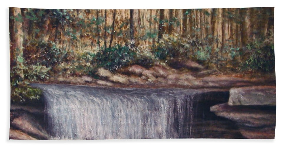 Nature Beach Towel featuring the painting Waterfall Glory by Penny Neimiller