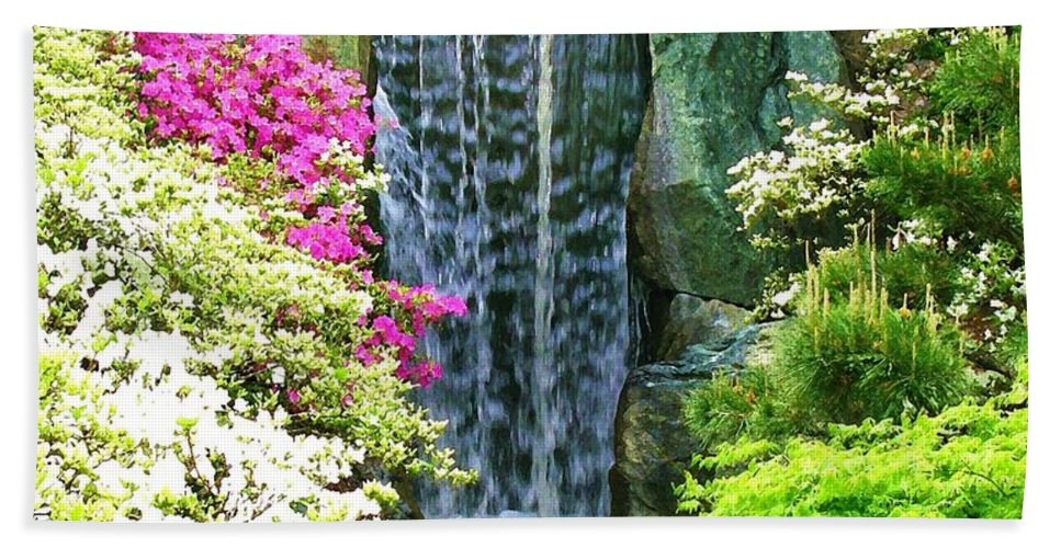 Waterfall Print On Canvas Beach Towel featuring the painting Waterfall In Spring by Susanna Katherine