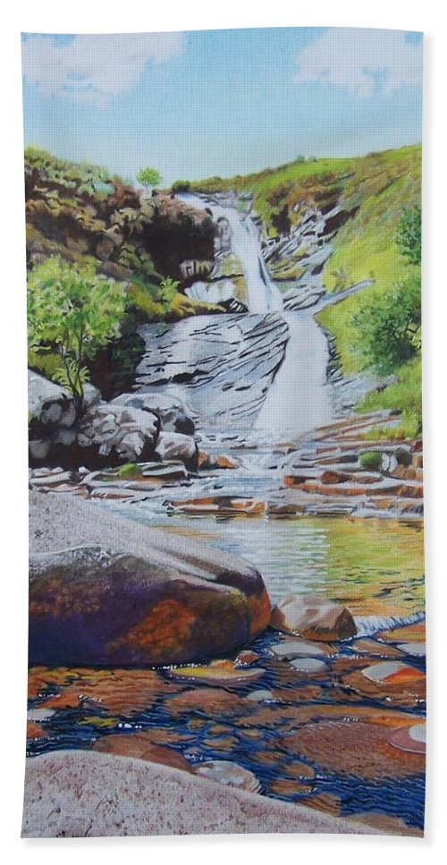 Waterfall Beach Towel featuring the mixed media Waterfall On Skye 2 by Constance Drescher
