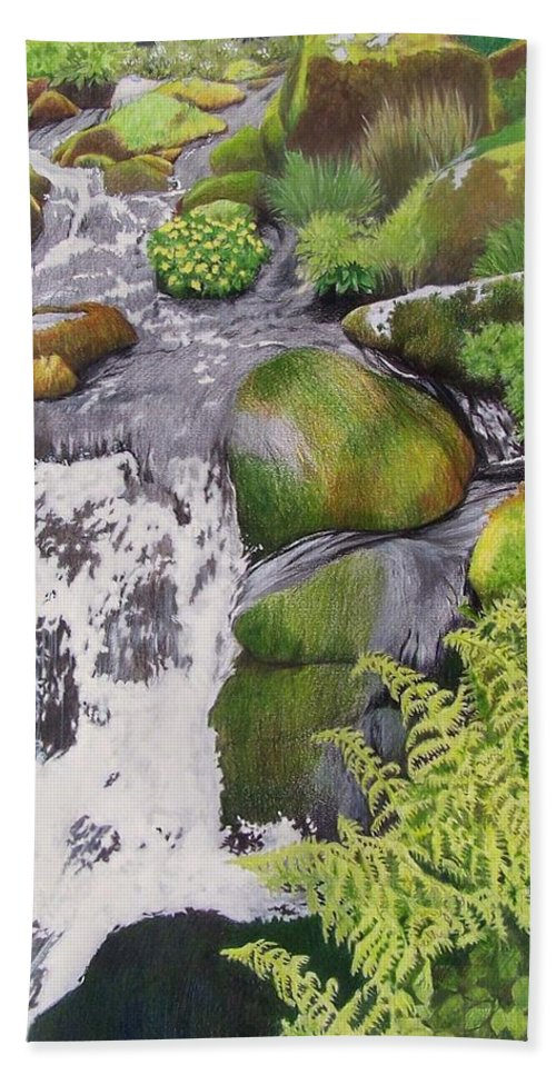 Waterfall Beach Towel featuring the mixed media Waterfall On Skye by Constance Drescher