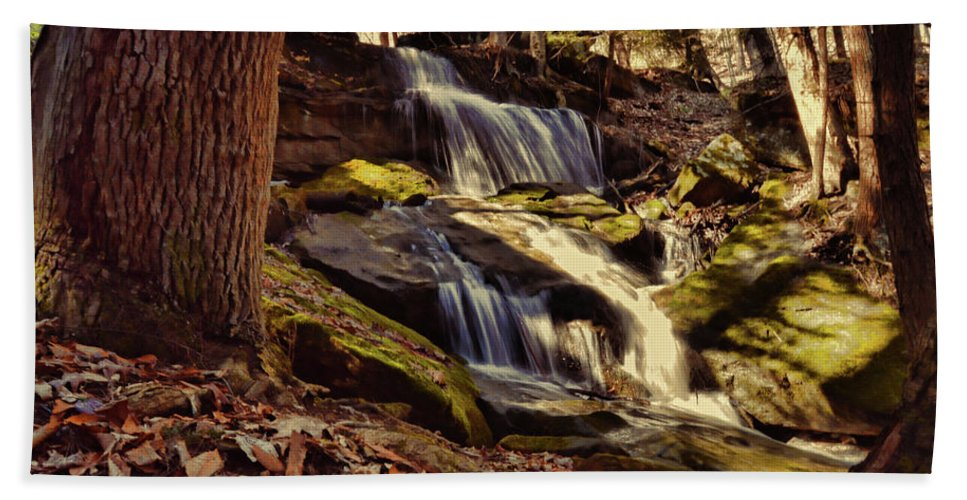 Waterfalls Beach Towel featuring the photograph Waterfall Through The Trees by Megan Miller