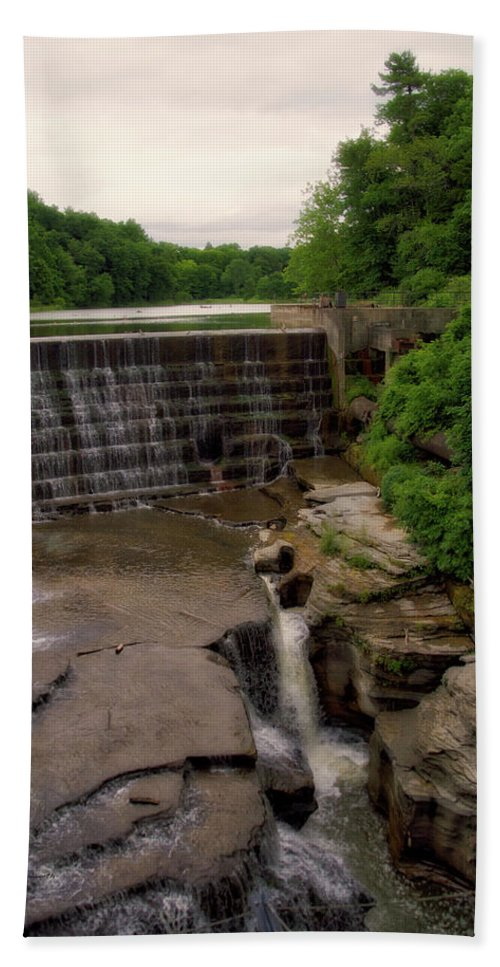 Cornell University Beach Towel featuring the photograph Waterfalls Cornell University Ithaca New York 08 Vertical by Thomas Woolworth