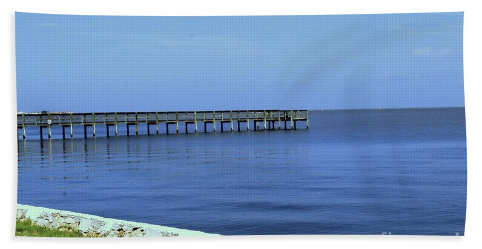 Pier Beach Towel featuring the photograph Waterfront Pier by Gary Wonning