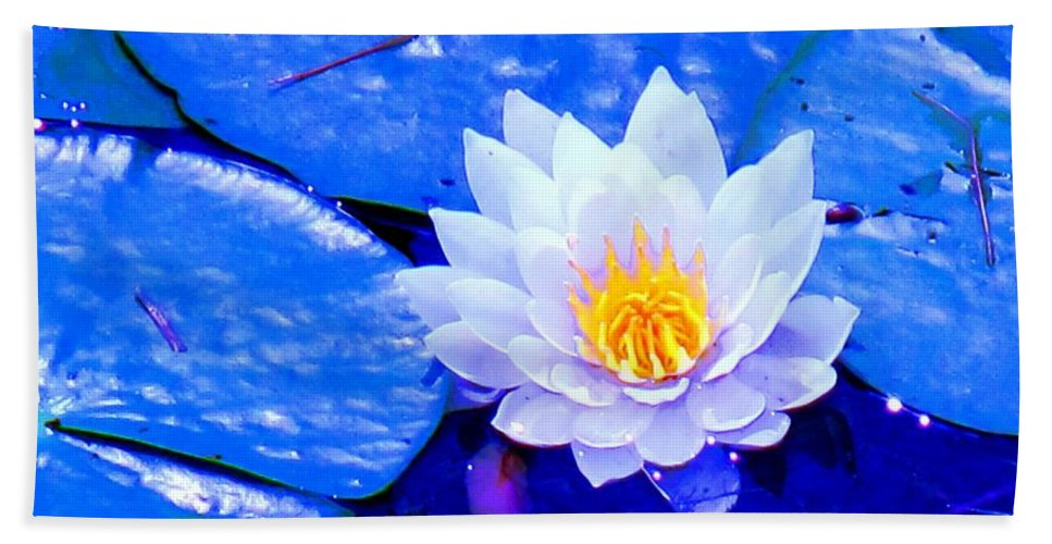 Waterlilly Beach Towel featuring the photograph Blue Water Lily by Ian MacDonald
