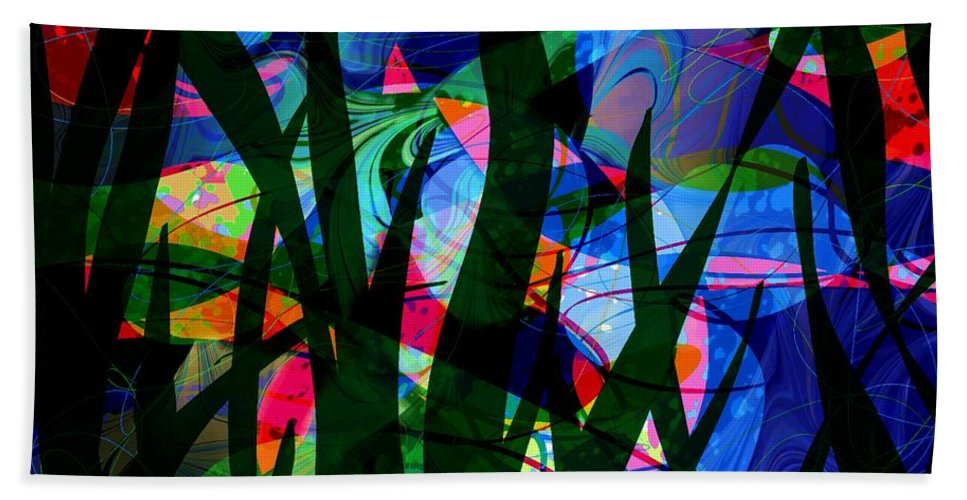 Abstract Beach Towel featuring the digital art Watermelon and a Swim by William Russell Nowicki
