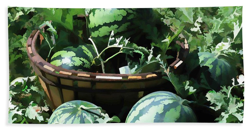 Watermelon Beach Towel featuring the painting Watermelon In A Vegetable Garden by Jeelan Clark