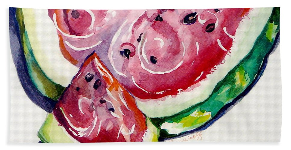 Still Life Beach Towel featuring the painting Watermelon by Jan Bennicoff