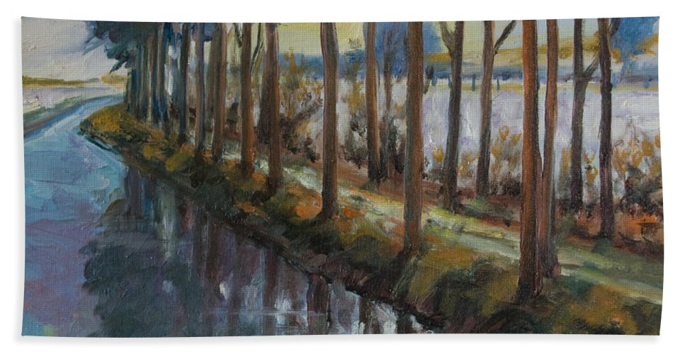 Trees Beach Towel featuring the painting Waterway by Rick Nederlof