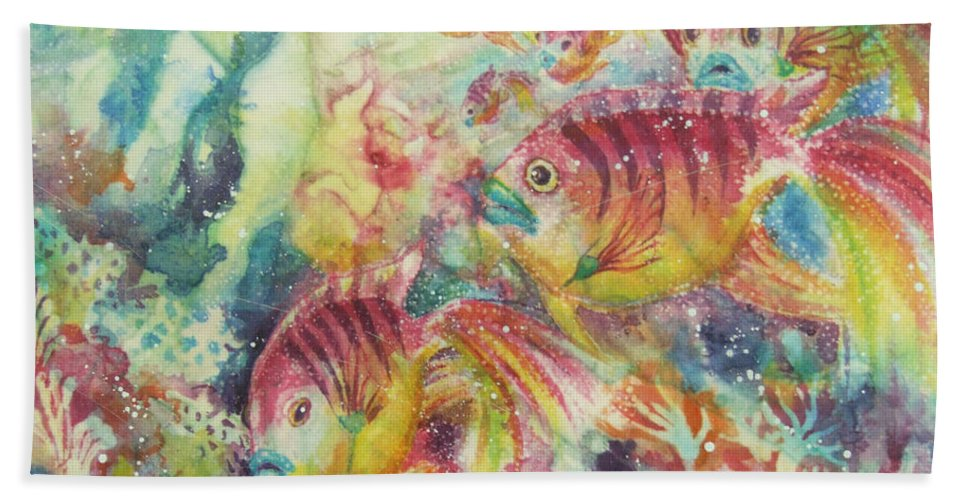 Fish Beach Towel featuring the painting Watery World 2 by Deborah Younglao