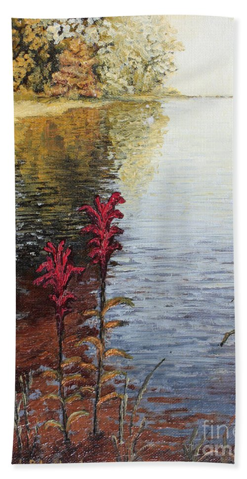 Landscape Beach Sheet featuring the painting Watts Bar Lake Rockwood Tn by Todd A Blanchard