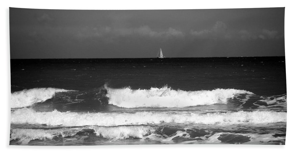 Waves Beach Towel featuring the photograph Waves 4 In Bw by Susanne Van Hulst