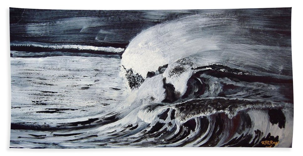 Waves Beach Towel featuring the painting Waves At Night by Richard Le Page