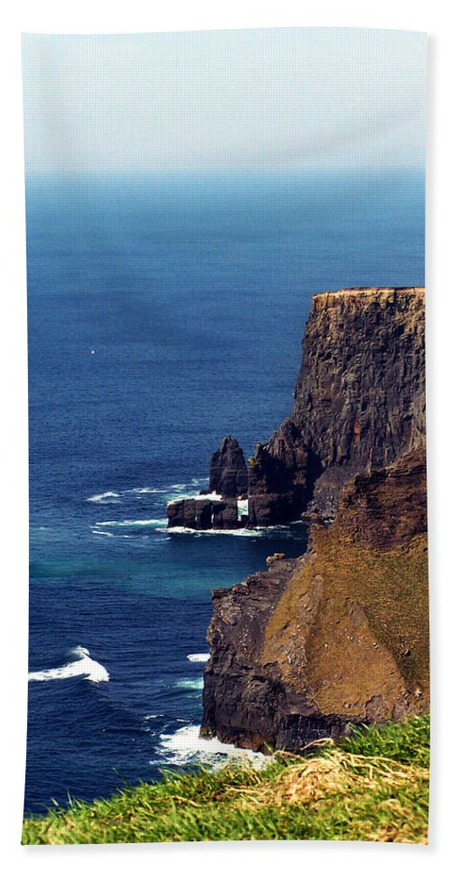 Irish Beach Towel featuring the photograph Waves Crashing At Cliffs Of Moher Ireland by Teresa Mucha