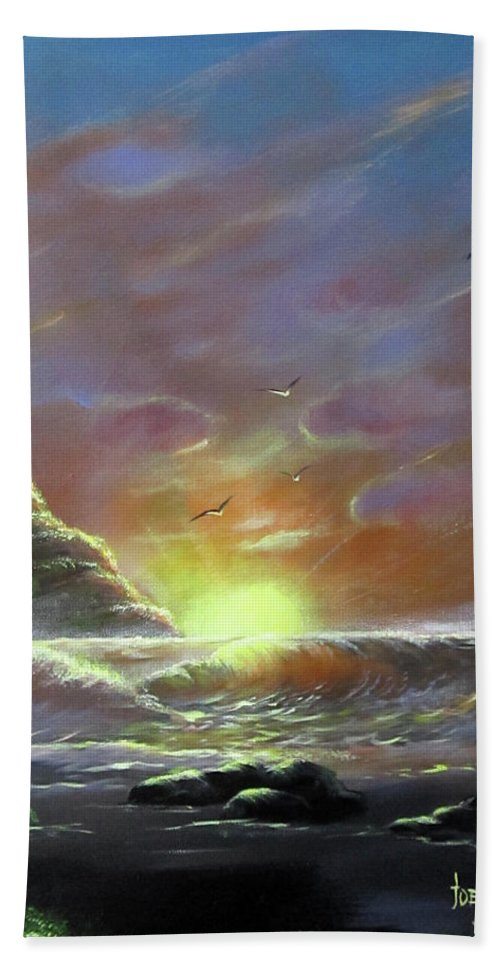 Beach Towel featuring the painting Waves Through The Sunset by Joey Victorino
