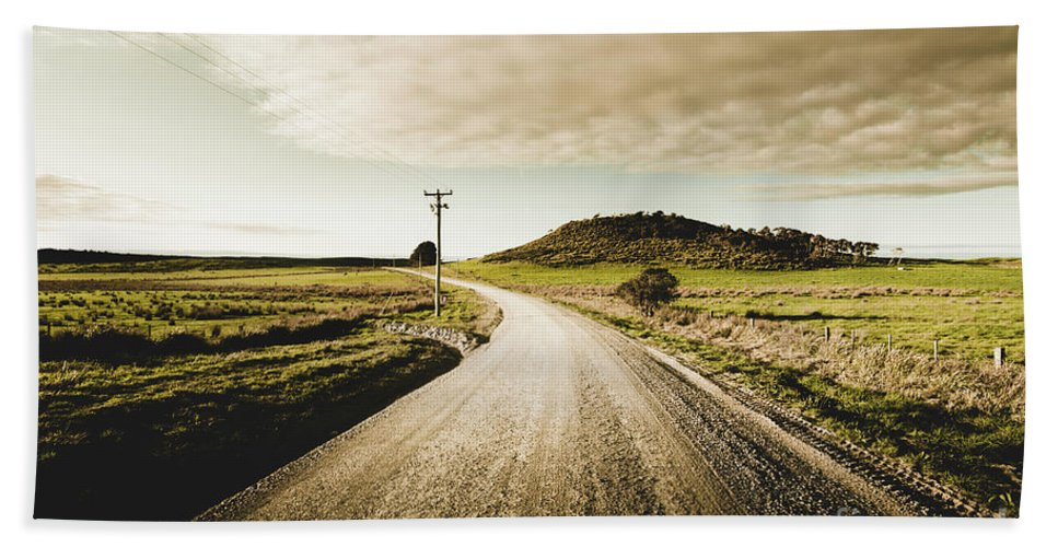 Road Beach Towel featuring the photograph Way Out Yonder by Jorgo Photography - Wall Art Gallery