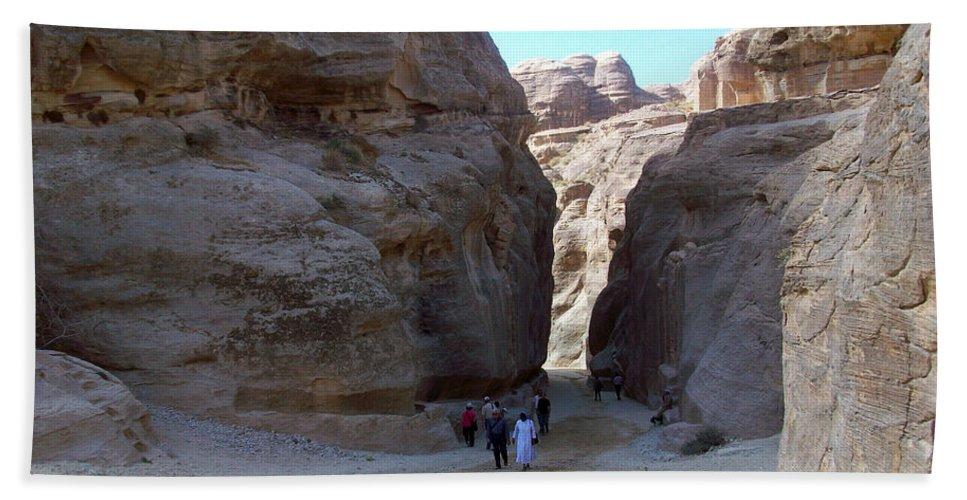 Petra Beach Towel featuring the photograph Way To Petra by Munir Alawi
