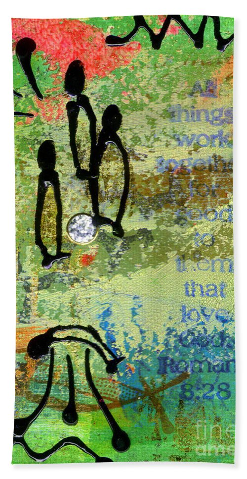 Greeting Cards Beach Towel featuring the mixed media We Believe Romans 8 28 by Angela L Walker