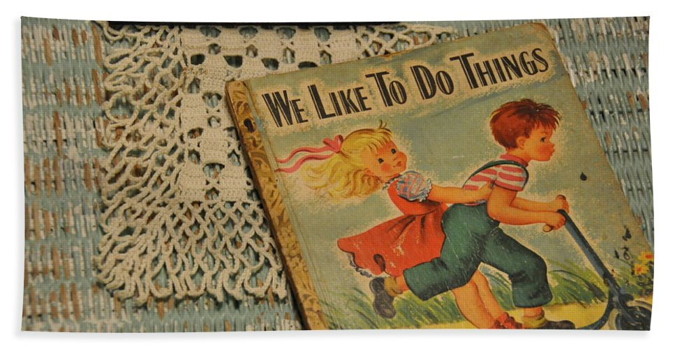 Still Life Beach Towel featuring the photograph We Like To Do Things by Jan Amiss Photography