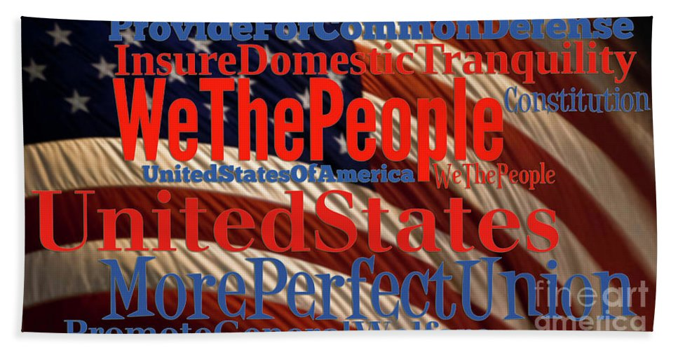 Beach Towel featuring the digital art We The People Of The United States Of America by Anne Kitzman