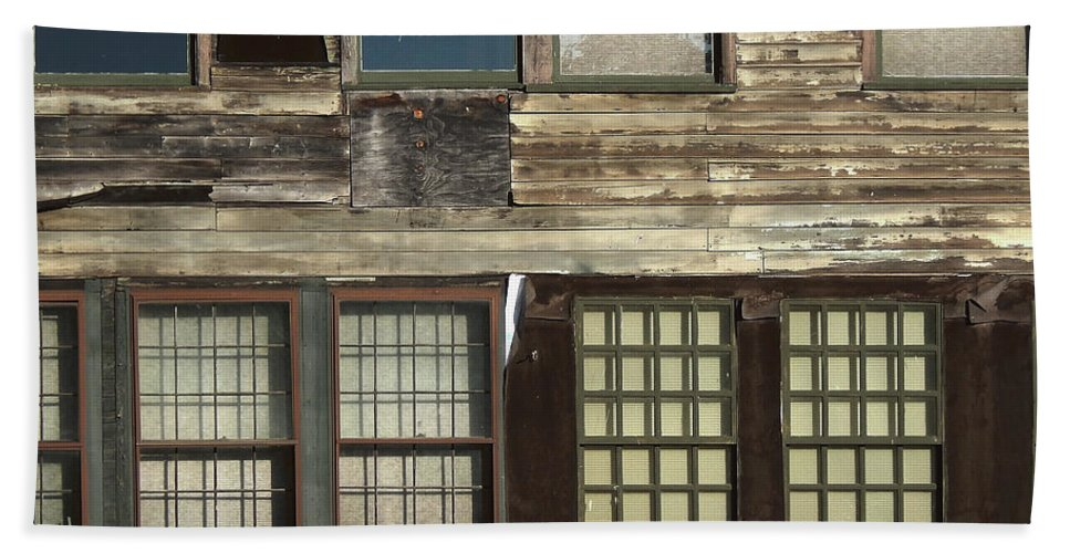 Vintage Photography Beach Towel featuring the photograph Weathered Windows by Phil Perkins