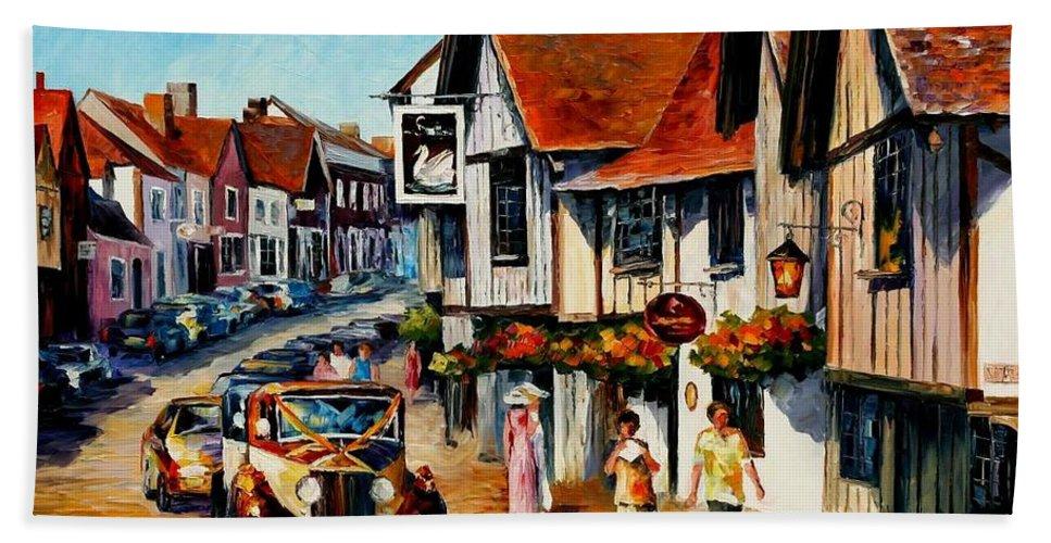Afremov Beach Towel featuring the painting Wedding Day In Lavenham - Suffolk England by Leonid Afremov