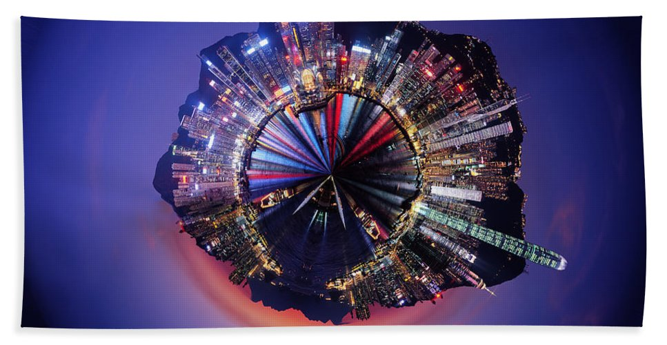 Wee Planet Beach Towel featuring the digital art Wee Hong Kong Planet by Nikki Marie Smith